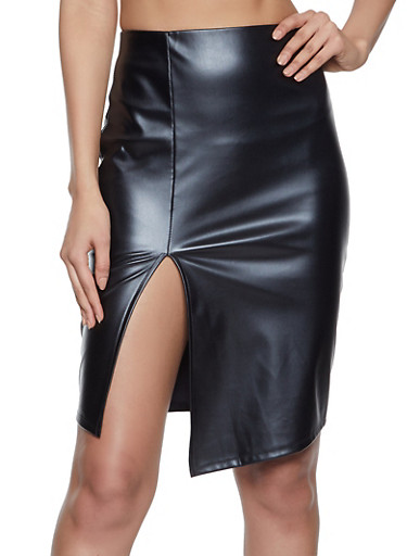 Faux Leather Slit Front Pencil Skirt,BLACK,large