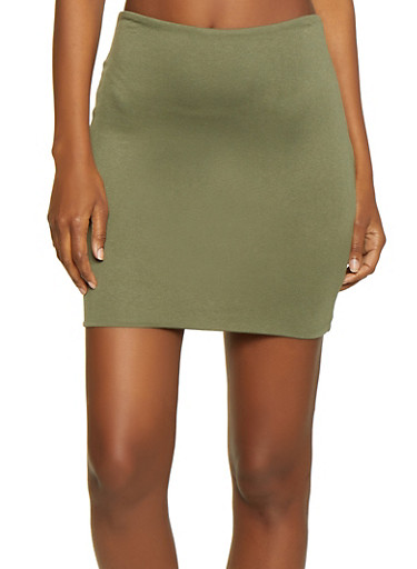 Solid Knit Pencil Skirt,OLIVE,large
