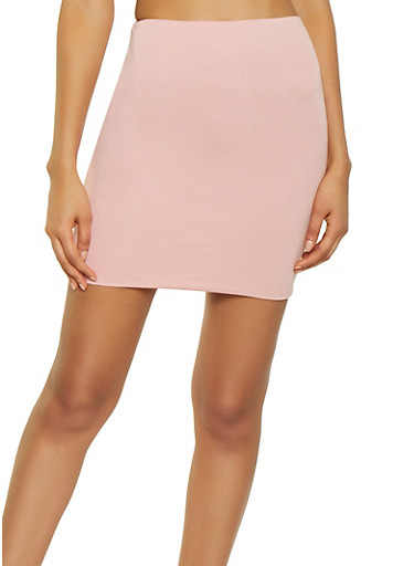 Solid Knit Pencil Skirt,PINK,large