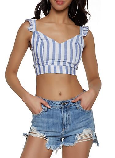 Striped Smocked Back Crop Top,BLUE,large