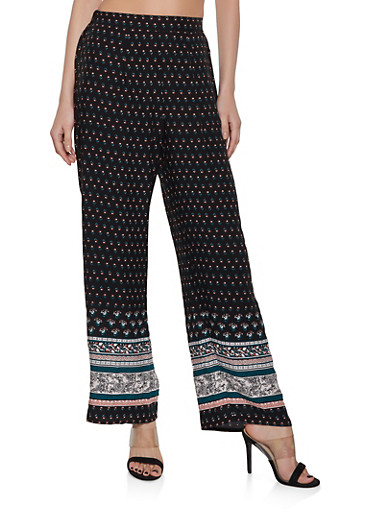 Flower Print Palazzo Pants,BLACK,large