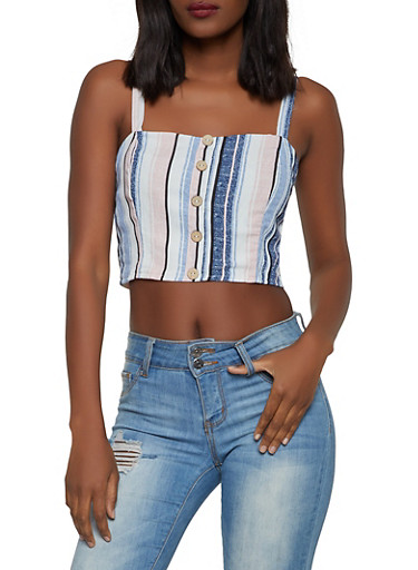 Striped Faux Button Crop Top,NAVY,large