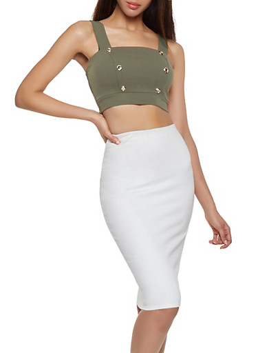 Button Detail Crop Top,OLIVE,large