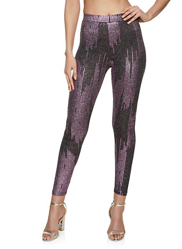 Printed Lurex Leggings,FUCHSIA,large