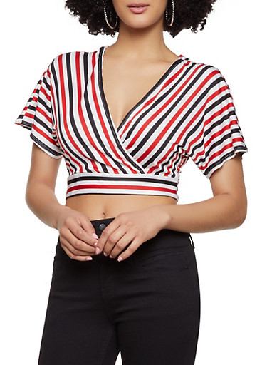 Striped Tie Back Crop Top,RED,large