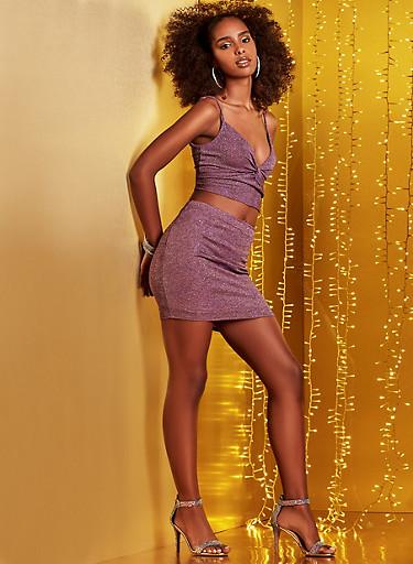 Shimmer Knit Mini Skirt,LAVENDER,large