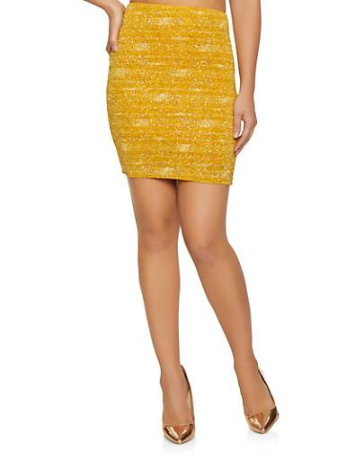 Shimmer Knit Mini Skirt,MUSTARD,large