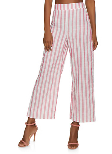 Striped Pull On Palazzo Pants | 1413069395202,PINK,large
