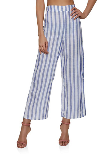 Striped Pull On Palazzo Pants | 1413069395202,BLUE,large