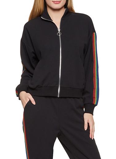 Stripe Detail Track Jacket,BLACK,large