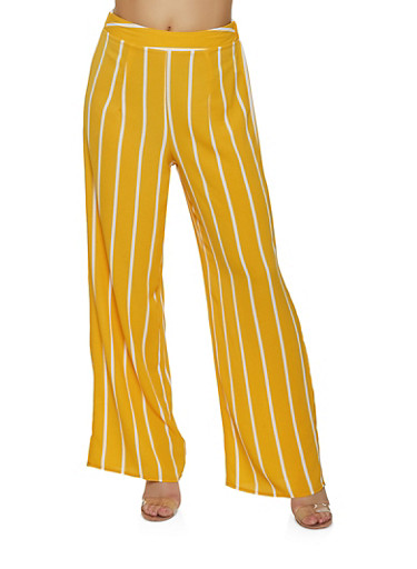 Striped Crepe Palazzo Pants,MUSTARD,large
