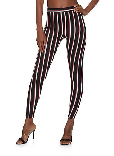 Striped Soft Knit Leggings | 1413069397137,BLACK,large