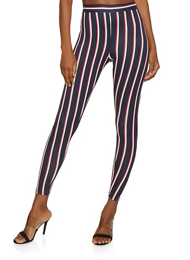 Striped Soft Knit Leggings   1413069397137,NAVY,large
