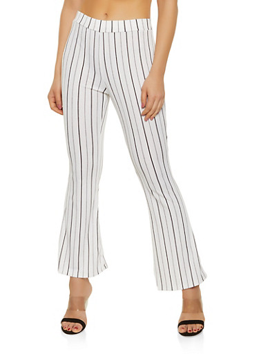 Striped Crepe Knit Flared Pants,WHT-BLK,large
