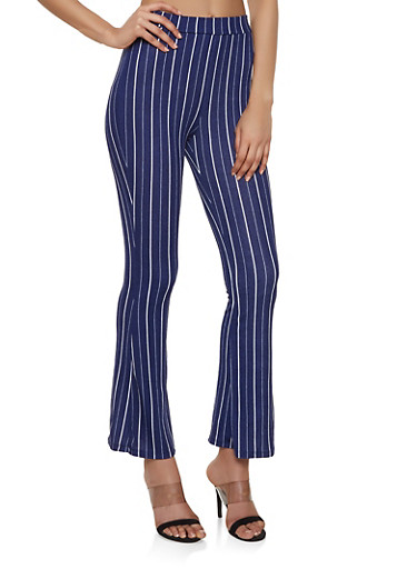 Striped Crepe Knit Flared Pants,NAVY,large