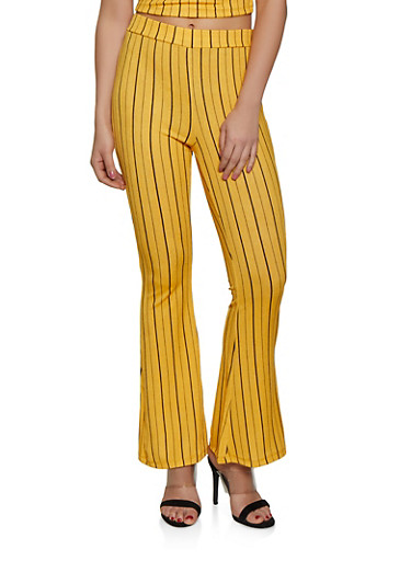 Striped Crepe Knit Flared Pants,MUSTARD,large