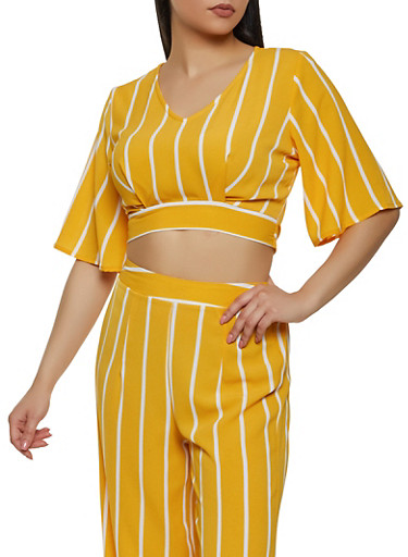 Tie Back Striped Top,MUSTARD,large