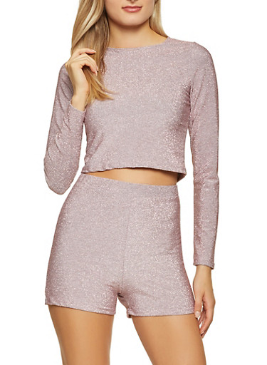 Glitter Knit Long Sleeve Top with Bike Shorts,PINK,large