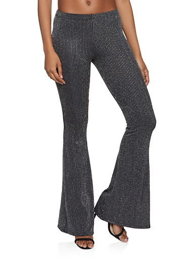 Glitter Striped Flared Pants,SILVER,large