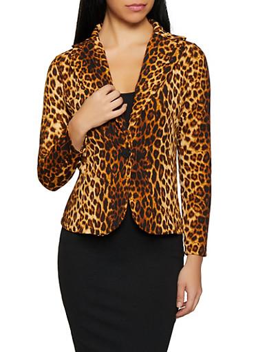 Leopard Print Blazer,BROWN,large