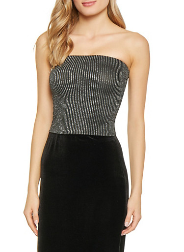 Striped Shimmer Knit Tube Top,SILVER,large