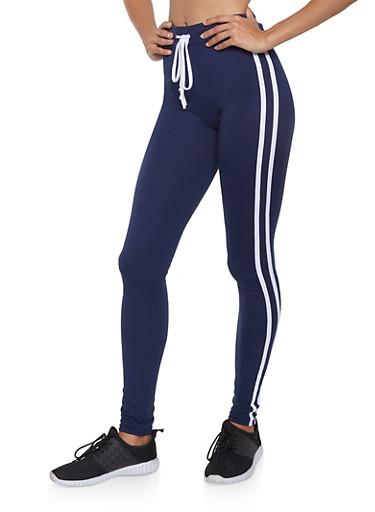 Varsity Stripe Soft Knit Leggings,NAVY,large