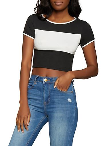 Color Block Crop Top,BLACK/WHITE,large