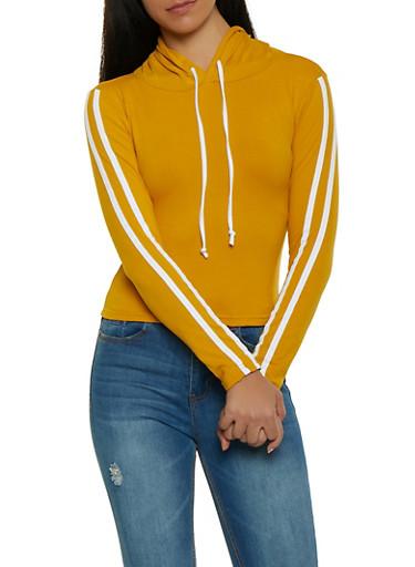 Varsity Stripe Soft Knit Hooded Top,MUSTARD,large
