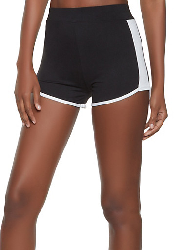 Contrast Trim Dolphin Shorts,BLACK/WHITE,large