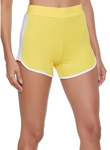 Contrast Trim Dolphin Shorts,YELLOW,large