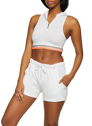 Striped Elastic Band Crop Top,WHITE,large
