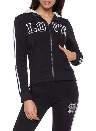 Love Embroidered Zip Front Sweatshirt,BLACK,large