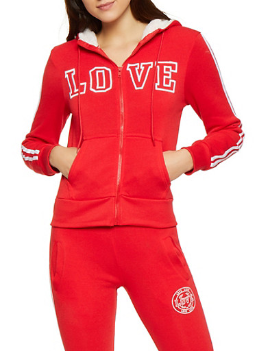 Love Embroidered Zip Front Sweatshirt,RED,large