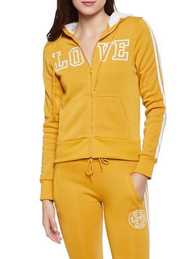 Love Embroidered Zip Front Sweatshirt,MUSTARD,large