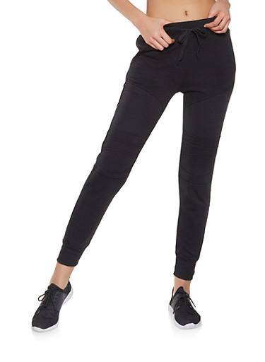 Fleece Lined Moto Sweatpants,BLACK,large