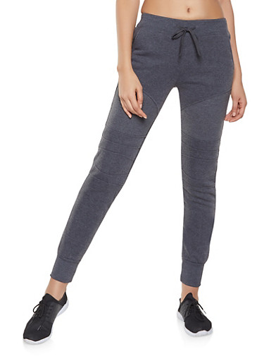 Fleece Lined Moto Sweatpants,CHARCOAL,large