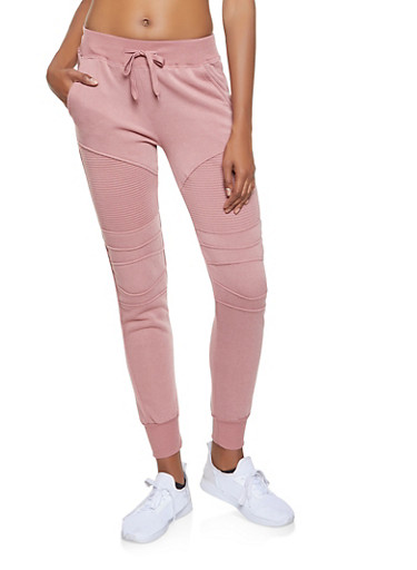 Fleece Lined Moto Sweatpants,MAUVE,large