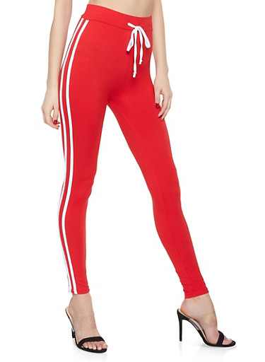 Varsity Stripe Soft Knit Leggings,RED,large