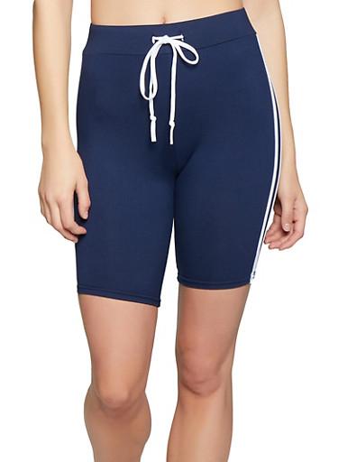 Varsity Stripe Bike Shorts,NAVY,large