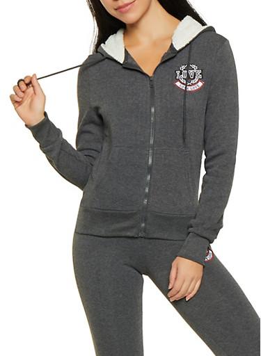 Love Embroidered Fleece Lined Sweatshirt,CHARCOAL,large