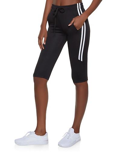 Varsity Stripe Capri Sweatpants,BLACK,large