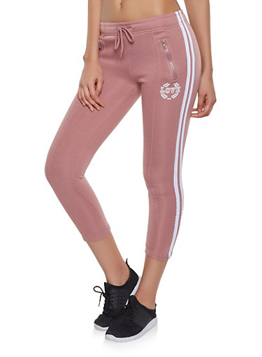 Love Graphic Varsity Stripe Capri Joggers,MAUVE,large