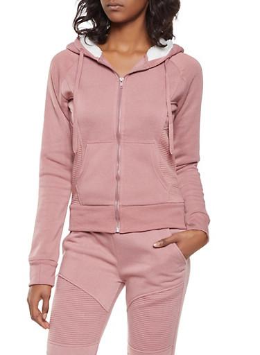 Sherpa Lined Hooded Sweatshirt,MAUVE,large