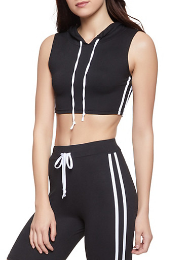 Hooded Varsity Stripe Crop Top,BLACK/WHITE,large