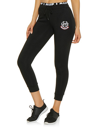 Love Embroidered Fleece Lined Joggers,BLACK,large