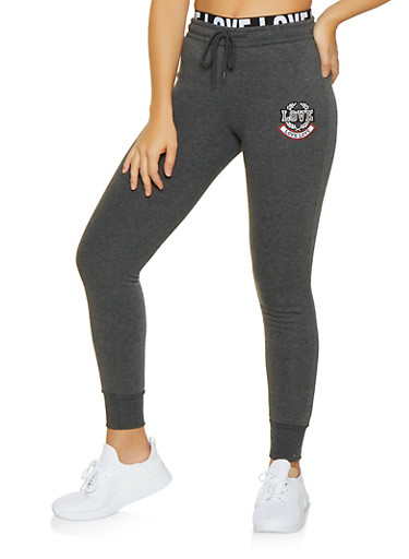 Love Embroidered Fleece Lined Joggers,CHARCOAL,large