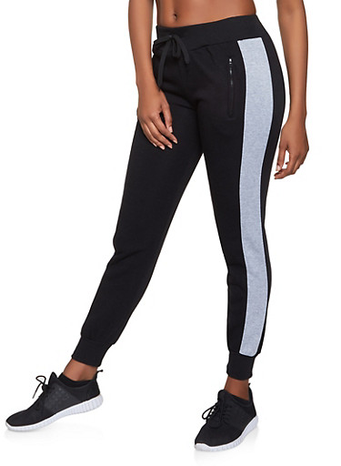 Side Stripe Fleece Lined Joggers,BLACK,large