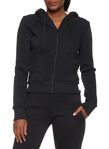 Fleece Lined 2 Pocket Sweatshirt,BLACK,large