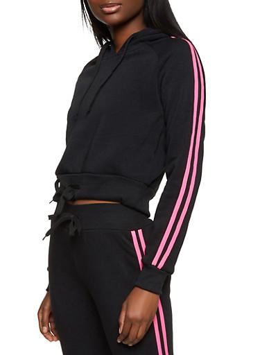 Drawstring Hem Varsity Stripe Sweatshirt,BLACK,large