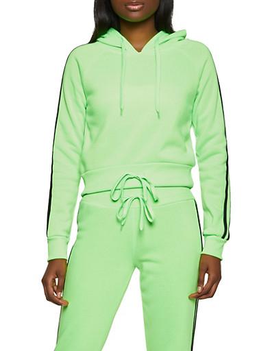 Drawstring Hem Varsity Stripe Sweatshirt,NEON LIME,large